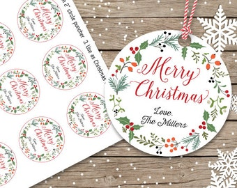 PRINTABLE Christmas Gift Tags, Personalized Christmas Tags, Custom Holiday Tags, printable holiday tags, 2 inch circle tag, customized tags