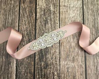 Dusty pink sash, Flower girl sash, childrens sash, wedding sash, rhinestone sash, dress sash, dusty rose sash