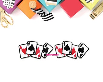 Set 2pcs. Card Games Little Patch New Sew / Iron On Patches Embroidered Applique Size 6.4cm.x3.2cm.