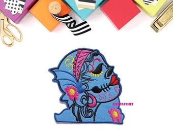 Beauty Skull Blue Ghost Halloween New Sew / Iron On Patch Embroidered Applique Size 9.2cm.x8.7cm.