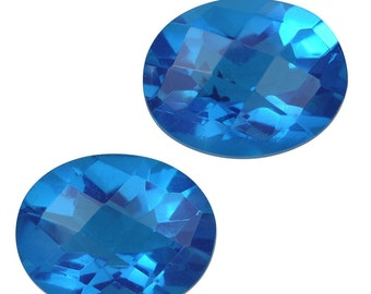 Caribbean Blue Quartz Triplet Loose Gemstones Set of 2 Checkerboard Oval Cut 1A Quality 10x8mm TGW 5.00 cts.