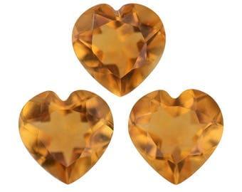 Brazilian Citrine Heart Cut Loose Gemstone Set of 3 1A Quality 6mm TGW 2.00 cts.