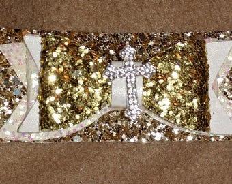 Cross with gold bow hair clip or headband