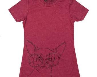 CLOSEOUT - Women's Hipster Chihuahua T-Shirt - Chihuahua Lover, Chihuahua Shirt, Chihuahua Art, Nerd Dog, Funny Dog Shirt