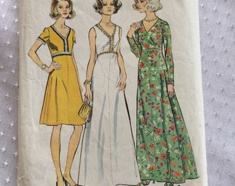 "1973 Simplicity Pattern # 6030 ""Look Slimmer Pattern"" Dress, Misses Size 18 1/2"