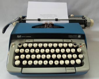 Vintage, WORKING, 1960s Smith Corona Galaxie Twelve, Two Toned Blue,Portable Manual Typewrite, Vintage Office Decor