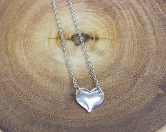 Silver Plated Heart Necklace, Heart Necklace, SilverHeart, Petite Heart, Necklace, Women's Necklace, Small Necklace, Bridesmaids, Gifts