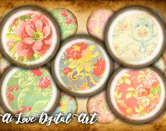 Digital download cabochon template 10mm, 12mm, 16mm, 20mm circle, Baroque Flowers, digital collage sheet instant download printable images