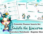 Saddle the Unicorn - printable Inserts Set for Travelers Notebook REGULAR - Midori, Fauxdori, Planner - 1 Day on 1 Page - 1 Week on 2 Pages