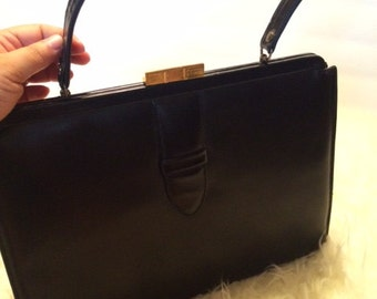 Classic Vintage Large Black Handbag 1960's Holly Golightly Madmen
