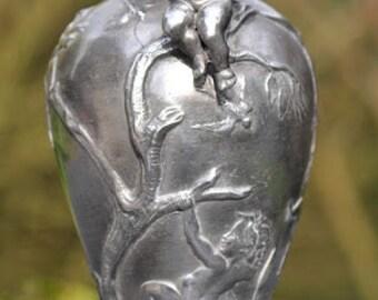 French Art Nouveau pewter vase with cherubs signed PETIZON c. 1900