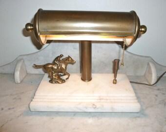Art Deco racing horse and jockey banker's brass alabaster desk lamp circa 1930
