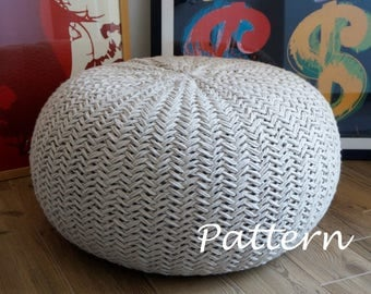 KNITTING PATTERN Knitted Pouf Pattern, Poof, Knitting, Ottoman, Footstool, Ho...