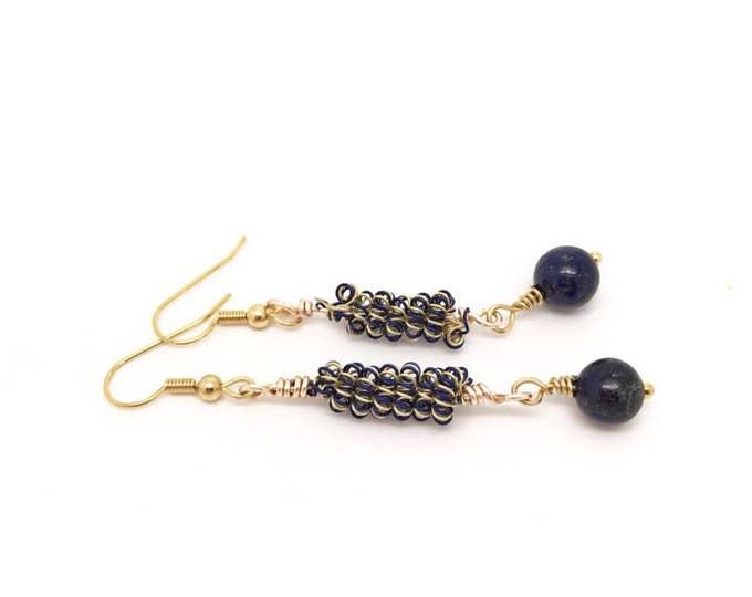 Blue yellow earrings, blue earrings, blue yellow earrings, dark blue jewelry, blue coil earrings, yeloww coil earrings