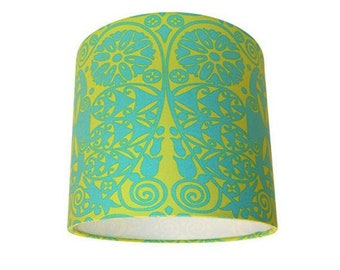 Amy Butler Soul Blossoms Temple Doors Green & Yellow Drum Lampshade