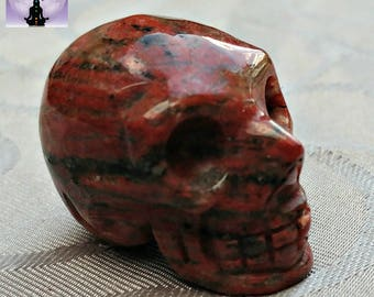 Brecciated Jasper Skull, Jasper Skull, Crystal Skull, Carved Skull, Skull, Brecciated Jasper, Crystal Carved Skull, Jasper Carved Skull, Red