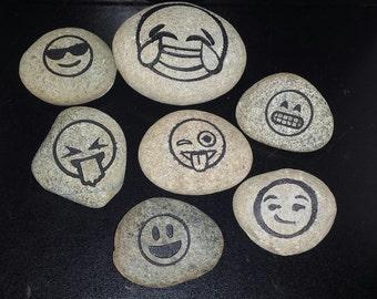 Emoji Etched River Rock