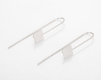 Square Shape Hook Polished Rhodium Plated - 2 Pieces [H0084-PR]