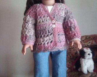 Hand Crocheted Tunic Length Sweater for 18 inch Dolls