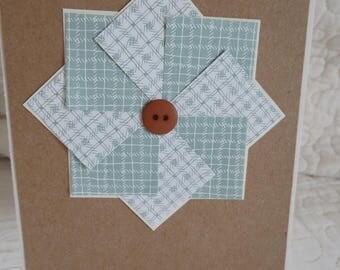 Sage Shadow and brown Faux Pinwheel Notecards/ Handmade Notecard Set / Sewing Theme Notecard set/ Blank notecards