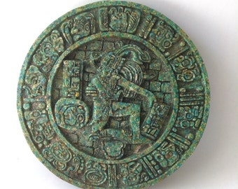 Vintage Aztec Indian Turquoise Stone Mosaic Resin Wall Plaque, Pre-Colombian Vintage Reproduction Mexican Folk Art Mosaic Art