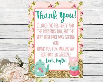 Tea Party Thank You Card Personalized. ***Digital File*** (Tea-TwoFlowerThx)