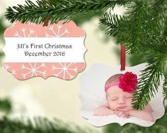 Personalized Photo Christmas Ornament - Wedding Ornament, First Christmas Ornament, Custom Photo Ornament, Wedding Ornament - Snowflake