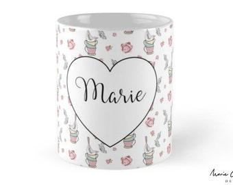 pretty bird and teacup mug personalised/customised