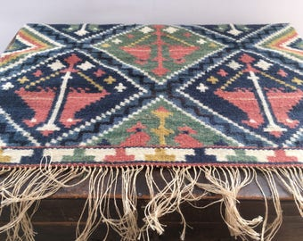 Vintage wall tapestry Wall Weaving art Woven wall hanging Multicolored Wool wall decor