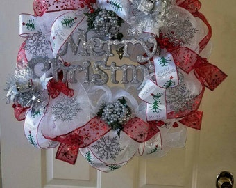 SALE!  Ready to ship white and red mesh wreath