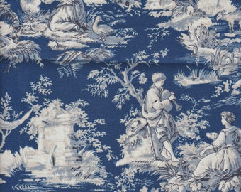 Blue Toile Boy Girl Lamb Chicken Urn Sheep victorian fabric curtain Valance