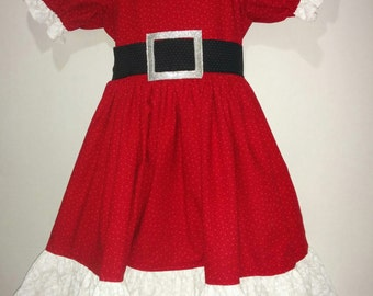 Baby Infant Toddler Girls Christmas Santa Mrs. Claus Cotton Boutique Dress Outfit! Perfect for Pictures Party Dance! 6 12 2 3 4 5 6 7 8