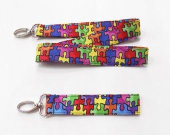Autism Awareness Fabric Lanyard or Wristlet Puzzle Pieces Lanyard ID or Badge Holder Autism Fabric Keychain Puzzle Wristlet Puzzle Key Fob