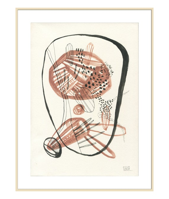 Jeu de Terre 2 - Ethnic art PRINT of organic painting - gouache & ink drawing lines and shapes - abstract art by Catalina.