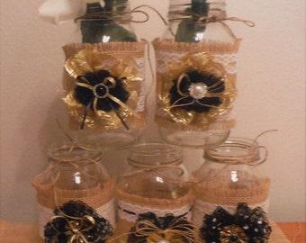 SET OF (5) Burlap & Lace Mason Jar Sleeves ***Rustic wedding decor, Birthday, Shabby Chic Design***