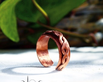 Braided Copper Ring - Forged Braided Copper Ring - Rustic Folk Copper Ring- Tribal Adjustable copper ring - Unisex Cooper Ring
