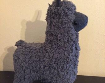 Grey sherpa stuffed llama plush