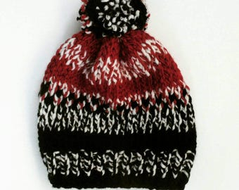 Red and Black Cozy Knit Hat