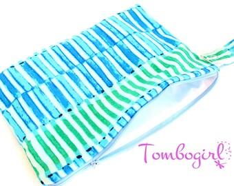 "Wet Bag 10"" x 7"" size, cloth pad bag, Australian made, zip, with snap open strap – Aqua"