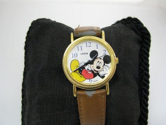 Fun Lorus Quartz Mickey Mouse Watch with Mickey Relaxing on the Dial