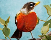"Robin Bird Songbird Spring Original Bird Painting Acrylic on Board 4""x4"""