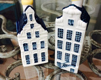 KLM Bols Decanters, Delft Blue Houses 25 and 46. , Hand Painted Blue and White Miniature Houses