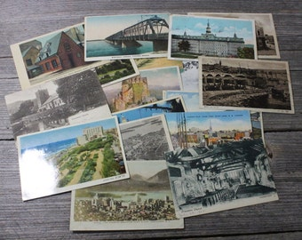 Instant collection of 21 vintage postcards from around the globe from 1930s and 1940s