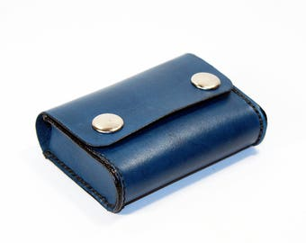 Credit Card Holder leather , Business Card Holder, Blue Leather Credit Card Wallet, Blue Card Holder. Great Gift.