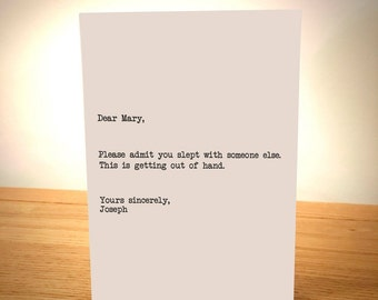 Dear Mary Please Admit You Slept With Someone Else - Blank Greeting Card - Adult Card - Humous - Funny - Christmas Card - EllieBeanPrints