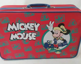 Vintage childs mickey mouse suitcase overnight Disney travel bag