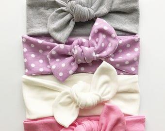 The Soft Set: skinny baby top knots - newborn headbands