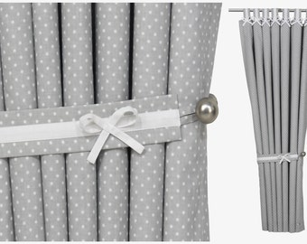 Blackout Nursery Curtain Tab Top Panel in Grey & White Polka Dot with White Bows. Custom sizes and bow colours. Sold per panel
