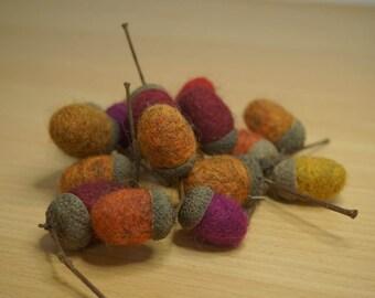 needle felted acorns