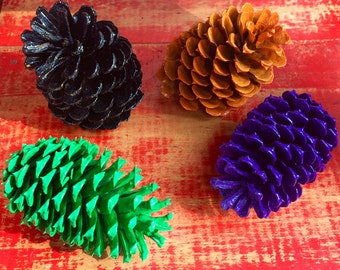 Colorful Halloween Painted Pinecones - Bag of 16 pieces